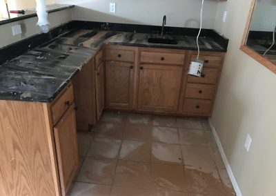 Burst Pipe Water Damaged Kitchen Cabinets